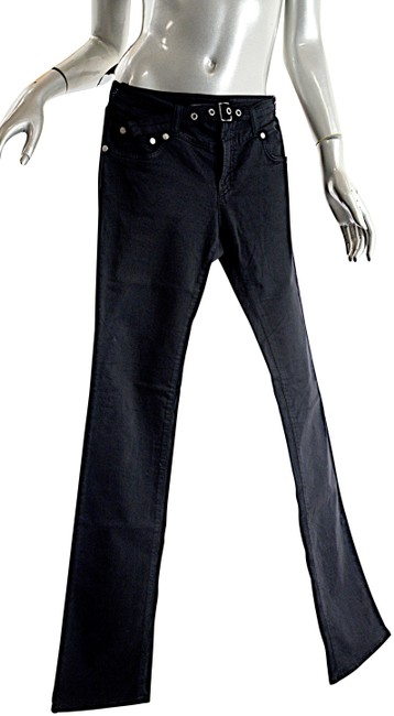 Item - Black Signature' Cotton Blend Belted Front Casual Pant Straight Leg Jeans Size 27 (4, S)