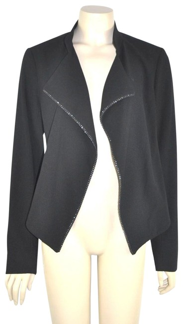 Item - Black Wool Blend Open with Chain and Mesh Trim Blazer Size 8 (M)