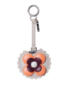 Fendi Fendi Blossom Orange /Tan Calf Leather Key Charm Keychain 7AR455-F09PP