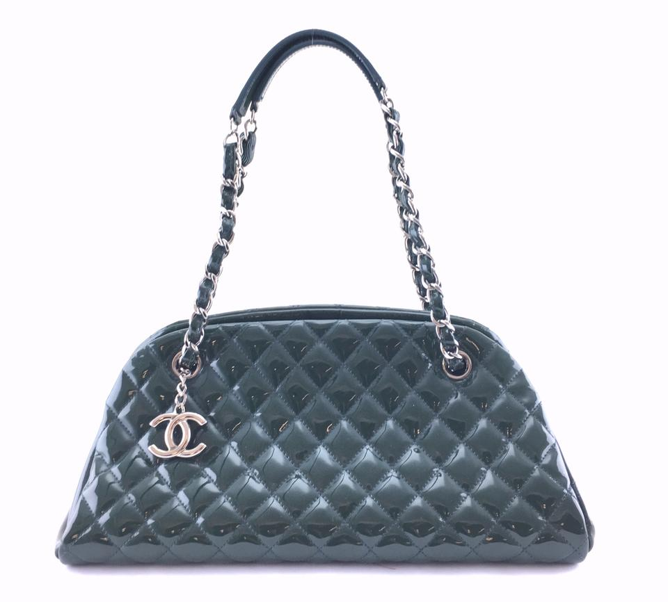 b22e09ad6632 Chanel Mademoiselle  24465 Rare Just Chain Tote Quilted Cc Charm Green  Patent Leather Shoulder Bag