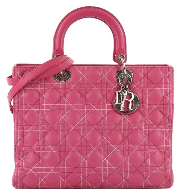 Item - Lady Handbag Cannage Quilt Large Pink Lambskin Leather Tote