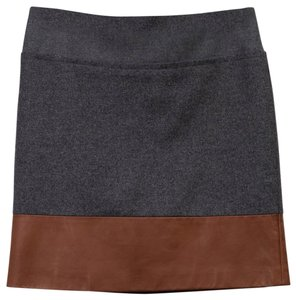 Brunello Cucinelli Wool Leather Boutique Made In Italy Mini Skirt Gray and Brown