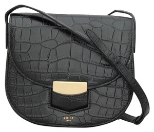 3efe6ab0bed3 Céline Trotteur Black Crocodile Skin Leather Cross Body Bag - Tradesy