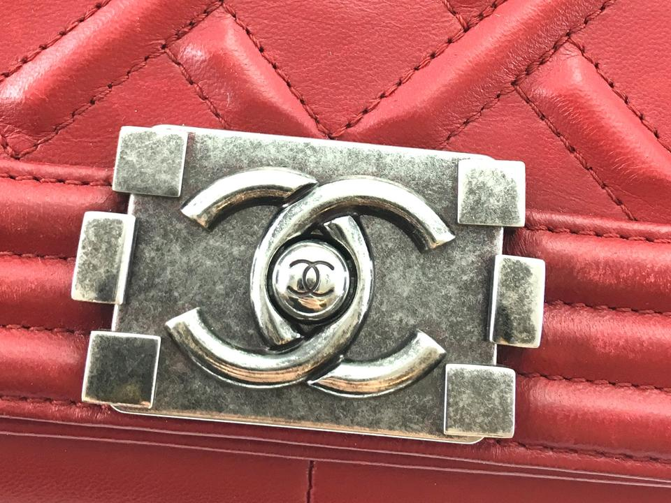 600d16c9751fb6 Chanel Boy #24467 Rare Celtic Embossed Quilted Old Medium Cc Cross ...