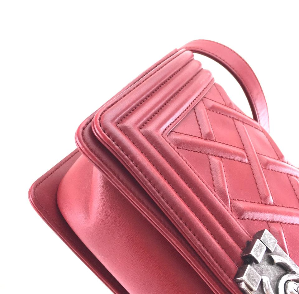 0205ddfd659923 Chanel Boy #24467 Rare Celtic Embossed Quilted Old Medium Cc Cross Body Red  Calfskin Leather Shoulder Bag - Tradesy