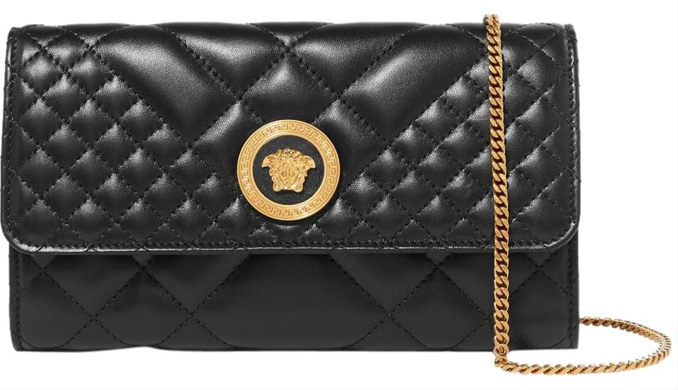 b5acdb2bbf Versace Ships Next Day Quilted Medusa Evening Black Leather Shoulder ...