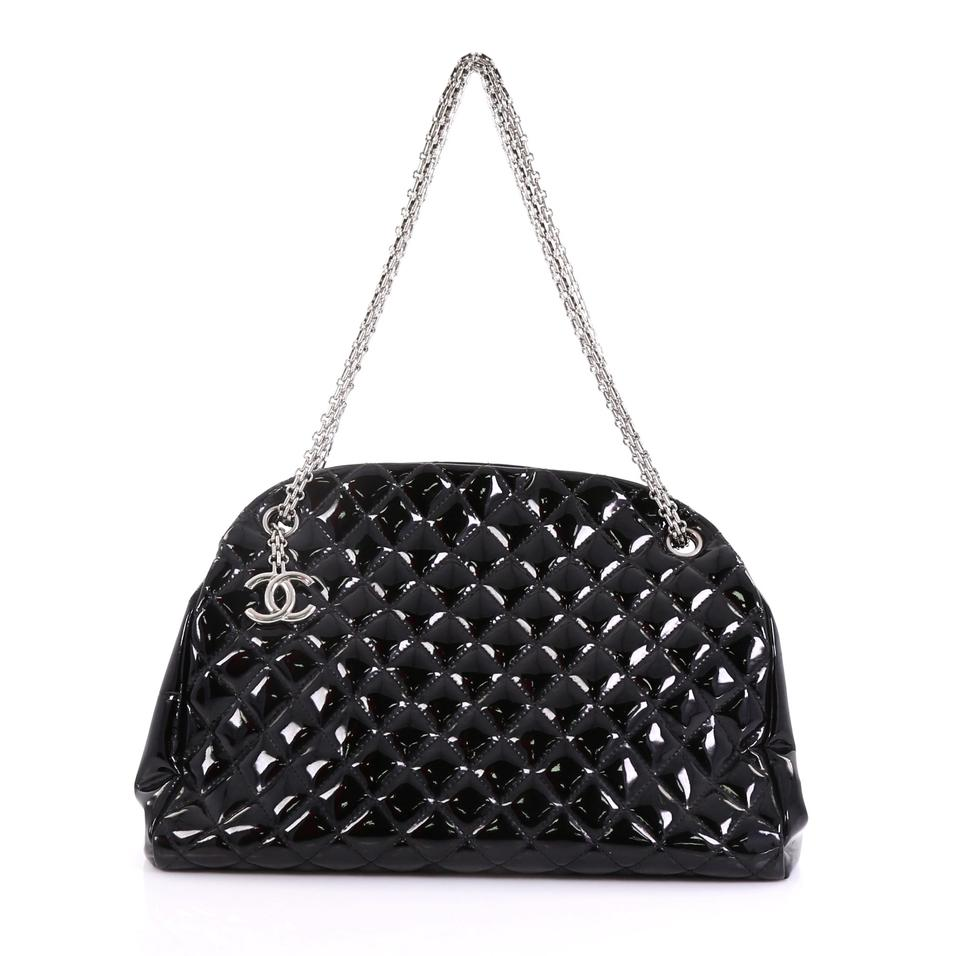 f30550ce37e6 Chanel Mademoiselle Just Handbag Quilted Large Black Patent Leather  Shoulder Bag