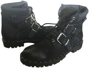 Free People Leather Hiking Lace Up Black Boots