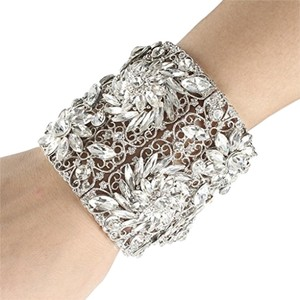 EVER FAITH EVER FAITH Spring Flower Stretch Wide Bracelet Clear Austrian Crystal