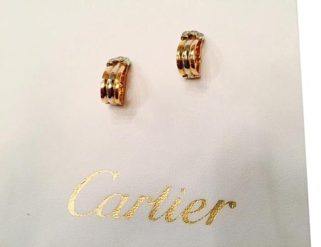 Item - Gold - Yellow Gold and White 18k Tri-color with Diamonds Earrings