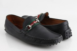 b934ebe7bd1 Gucci Black Horsebit Leather Web Drivers Loafers Shoes - Tradesy