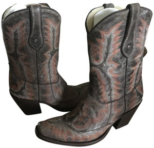 Corral Boots Cowboy Distressed Stitching Leather Brown/Orange Boots