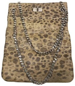 Givenchy Leather Animal Print Silver Hardware Tote in Taupe