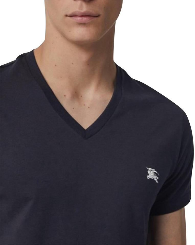2a803ed2 Burberry London Dark Navy Blue Jersey Men's Cotton V-neck T-shirt ...