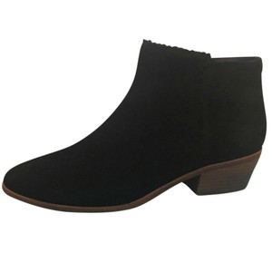 Jack Rogers Bailee Suede Scalloped Zipper Black Boots