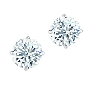 Certified 3.05cts Round Brilliant Cut Diamond Stud Earrings