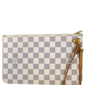 a1306dd01f6a Louis Vuitton LOUIS VUITTON Pochette Wristlet Pouch Neverfull MM Damier Azur