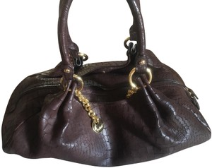 Perlina Leather Designer Satchel in Dark Brown