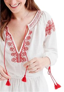 J.Crew J CREW Embroidered Cotton Linen Beach Romper in White Size XL