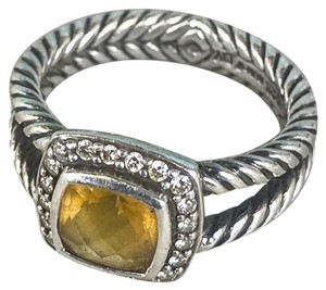 David Yurman David Yurman Sterling Silver Albion Citrine Diamond Cable Ring SALE!