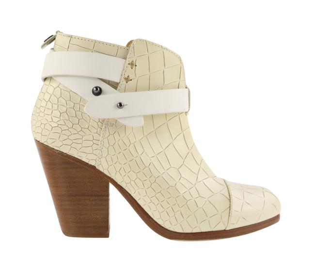Item - Ivory White Embossed Leather Harrow Ankle Booties