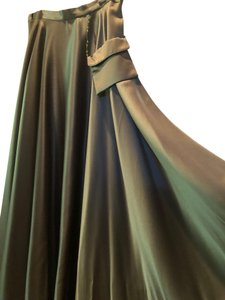 A.B.S. by Allen Schwartz Dressy Evening Satin Formal Maxi Skirt Dark Green