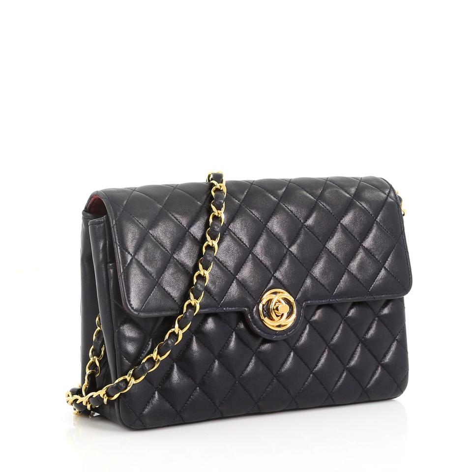 c5e6d6695c6a Chanel Classic Flap Vintage Cc Turn Lock Chain Quilted Small Blue Lambskin Leather  Shoulder Bag - Tradesy