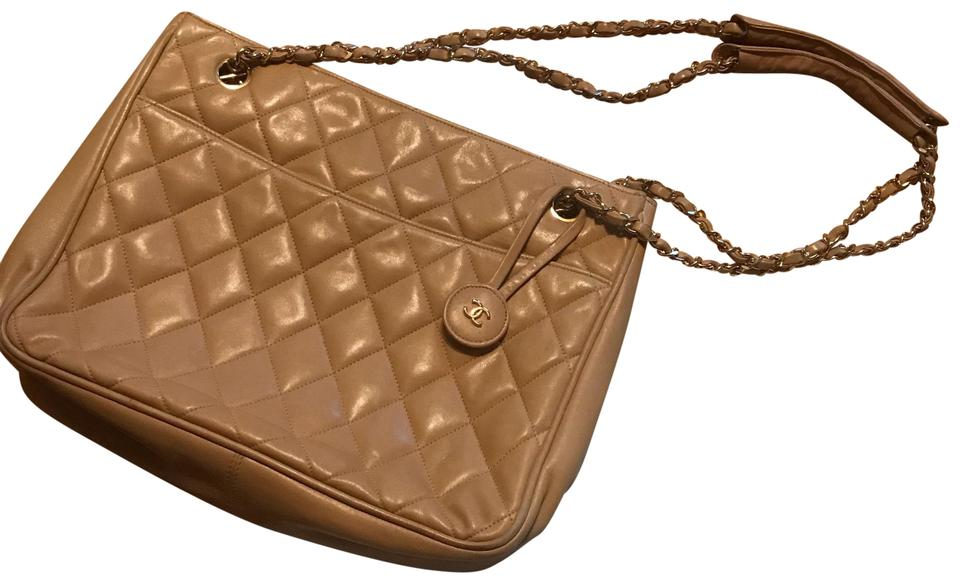 853d5a7d90d5 Chanel Vintage Quilted Beige and Gold Leather Satchel - Tradesy