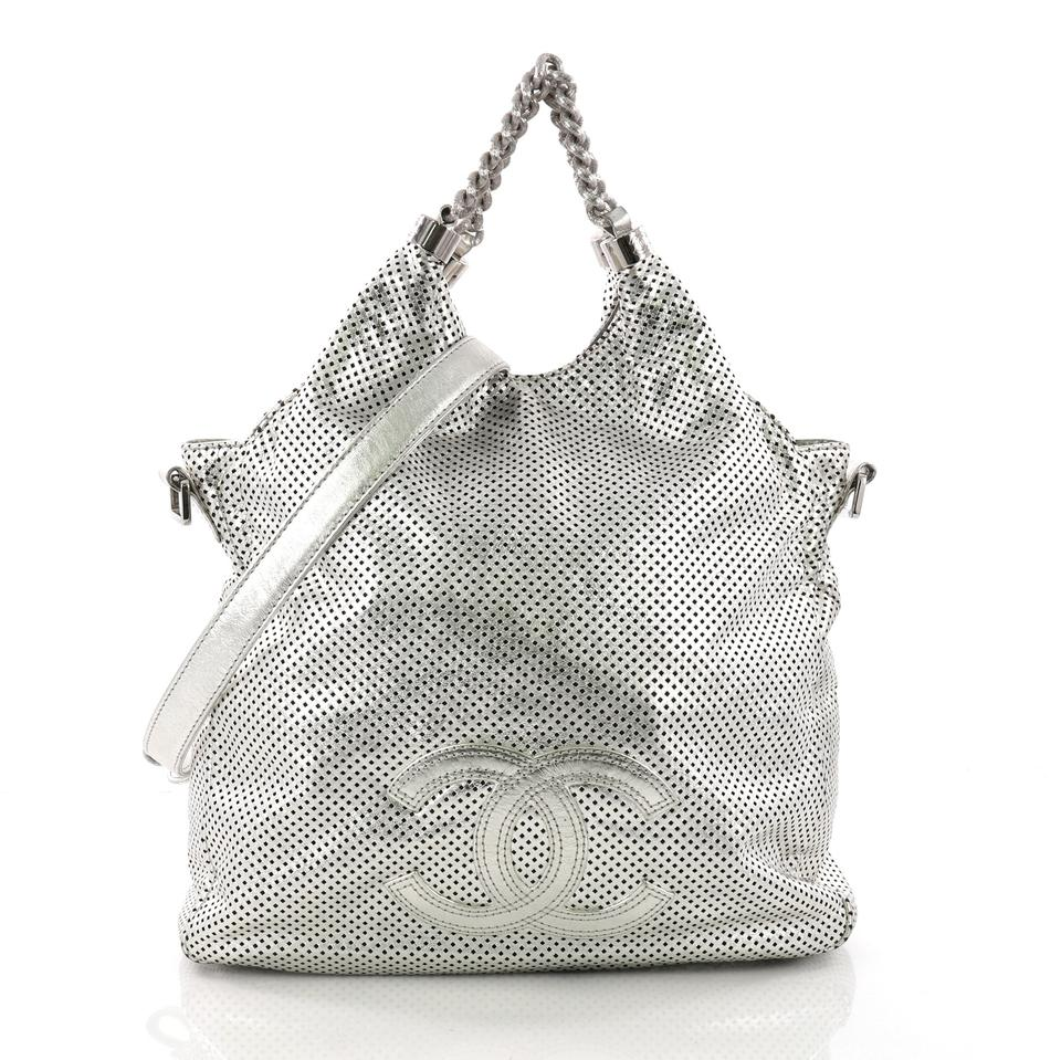 Chanel Hobo Rodeo Drive Perforated Large Metallic Silver Leather Hobo Bag 09270e395b418