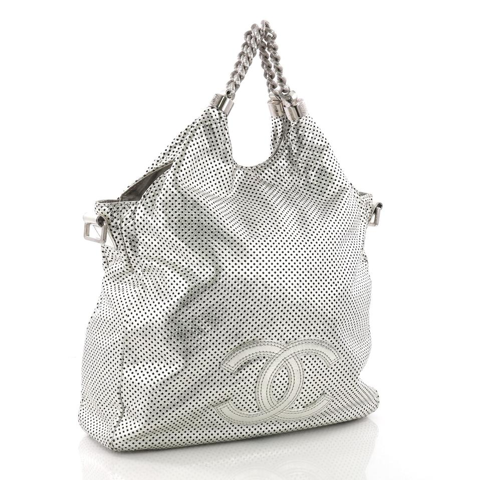 9137706e0440 Chanel Hobo Rodeo Drive Perforated Large Metallic Silver Leather ...