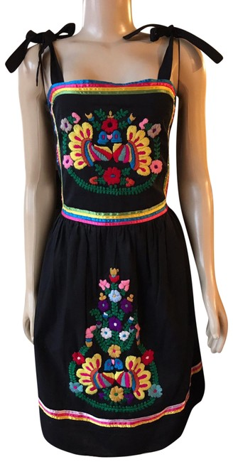 Item - Black Red Anthropologie Lauren Boho Embroidered Mid-length Short Casual Dress Size 4 (S)