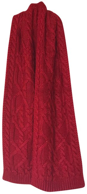 Item - Red Huge Plush Cable Knit Scarf/Wrap