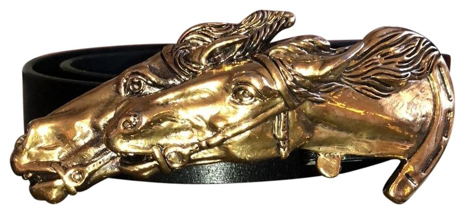 9bc856244b1 Gucci Gold Toned Double Horse Head Buckle and Black Leather Belt Image 0 ...