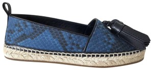 Burberry Hodgeson Tassel Python Snake Espadrille Mineral Blue Flats