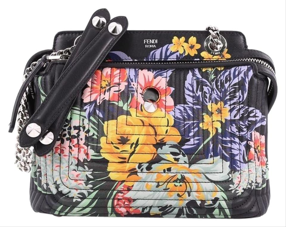 Fendi Dotcom Click Quilted Printed Small Black Leather Shoulder Bag ... 0c542ebabd229