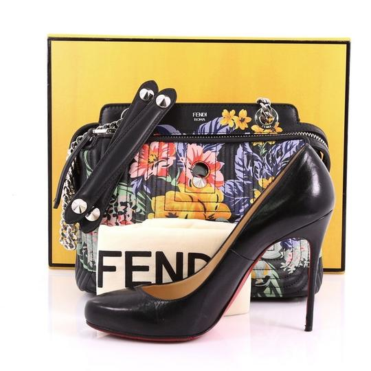 182ee1e1b7f Fendi Dotcom Click Quilted Printed Small Black Leather Shoulder Bag ...