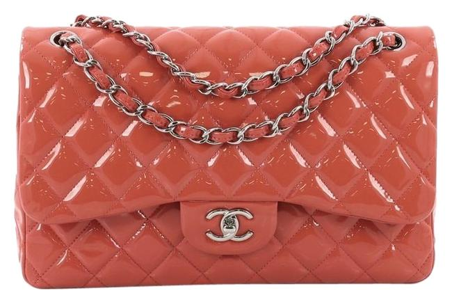 Item - Classic Flap Classic Double Quilted Jumbo Coral Patent Leather Shoulder Bag