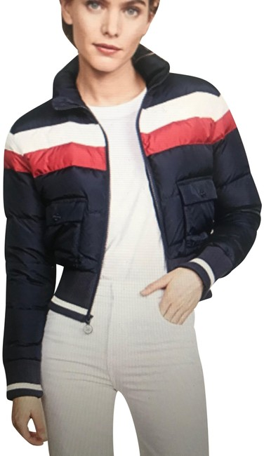 Item - Navy with Red and White Stripes The Big Rib Puffer Jacket Coat Size 6 (S)