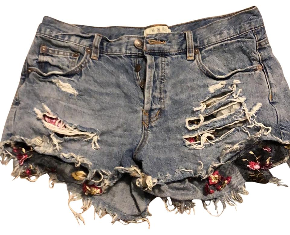 604aa8b195 Free People Floral Mesh Under Pockets Distressed Denim Shorts Size 6 ...