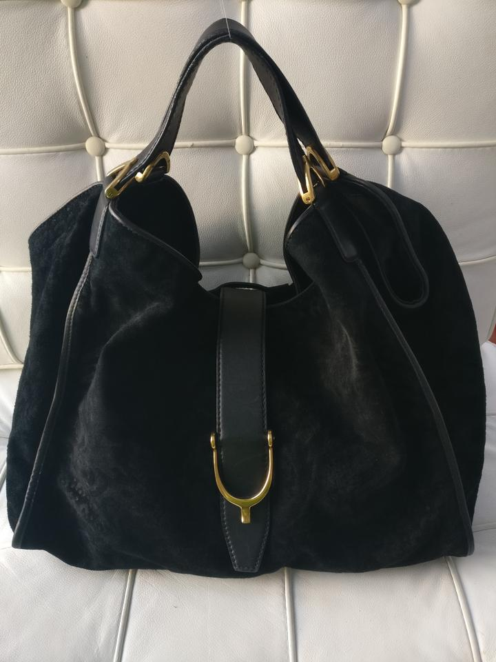 b310f30a1f8 Gucci Floral Suede Large Shoulder Black Leather Tote - Tradesy