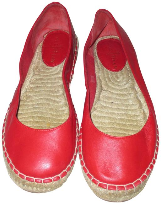 Item - Red Leather Espadrille Casual B Flats Size US 7 Regular (M, B)