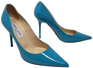 Jimmy Choo Patent Leather Pointed Toe Anouk Abel Blue Pumps
