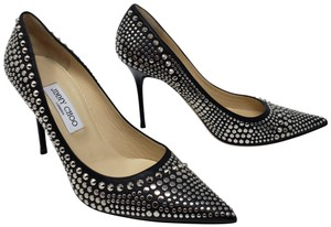 Jimmy Choo Studded Silver Hardware Pointed Toe Abel Anouk Black Pumps
