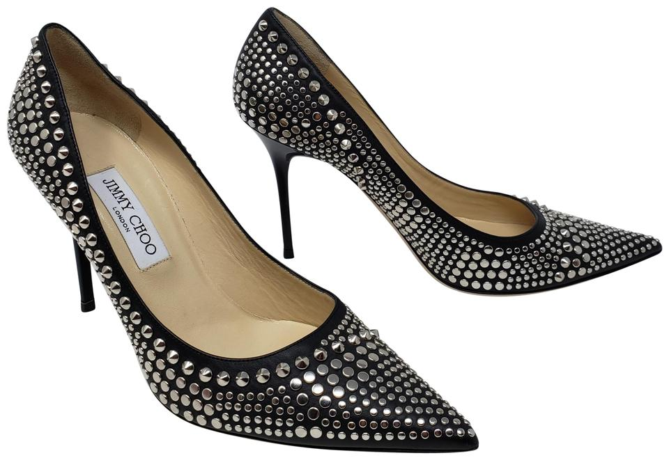 d3cd5fa37c9a Jimmy Choo Black Leather Studded Pointed-toe Pumps Size EU 40.5 ...