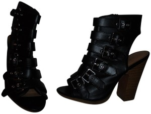 Love Culture Buckles Ankle Open Toe Sexy Chunky Heel Black Boots