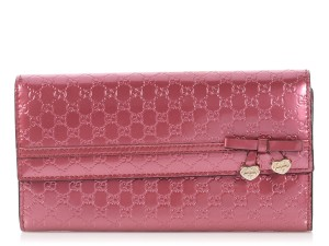 Gucci RED PATENT LEATHER MICROGUCCISSIMA WALLET
