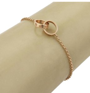 Cartier Baby Love 18k Rose Gold Double Mini Ring Charm Chain Bracelet