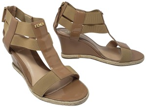 Fendi Gold Hardware Patent Leather Strappy Zucca Logo Beige Wedges