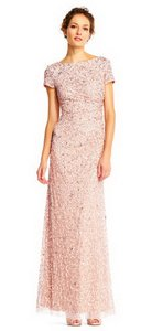 Adrianna Papell Blush Women's Sleeveless Cowl Back Beaded Long Gown (Blush) Traditional Bridesmaid/Mob Dress Size 4 (S)