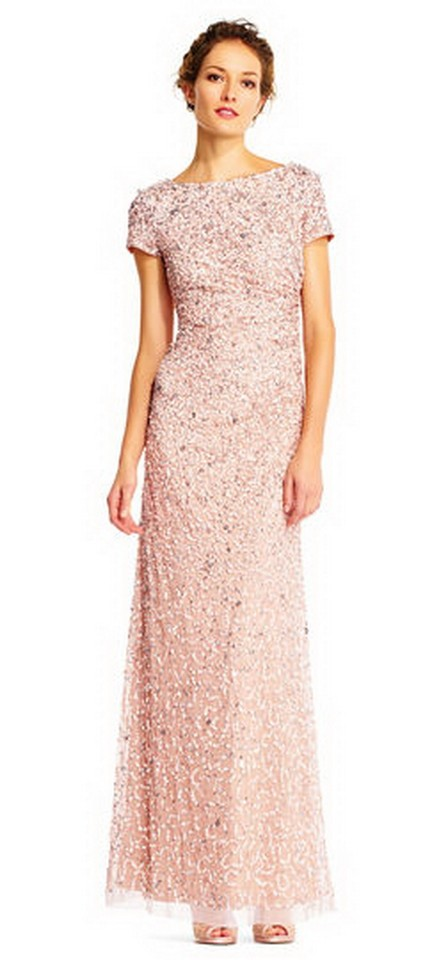 Adrianna Papell Blush Womens Sleeveless Cowl Back Beaded Long Gown